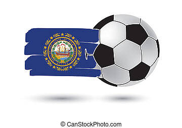 Soccer ball and New Hampshire State Flag with colored hand...