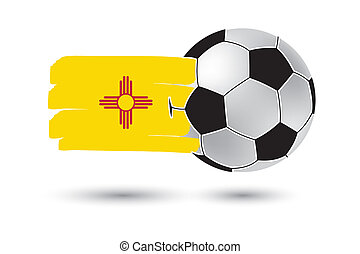 Soccer ball and New Mexico State Flag with colored hand...