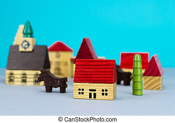 Figurine hometown on blue background