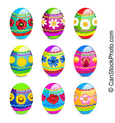 Easter eggs with spring flowers pattern - Vector...