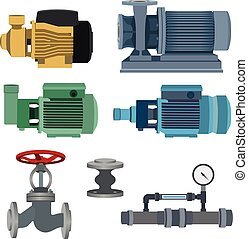 Set-water motor, pump, valves for pipeline Vector - Set -...