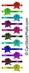Set of colorful  ribbons with bow