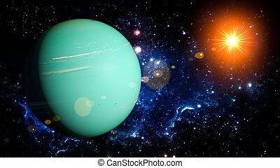 Uranus Planet Solar System space isolated illustration