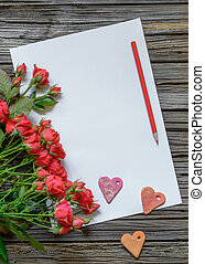 White paper with Valentines Day objects and pencil - Blank...