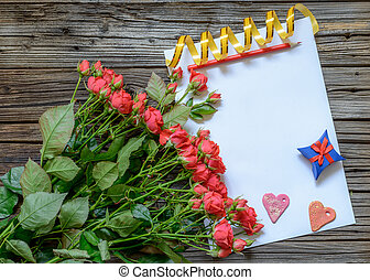Blank paper with Valentines Day objects - Blank paper with...