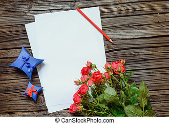 Blank paper with Valentines Day gifts