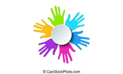 Video modern colorful hands rotation background. Creative 4K...
