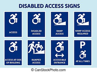 disabled access signs with modified international wheelchair...