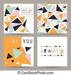 Set of geometric abstract colorful flyers.