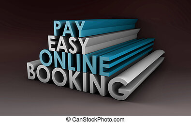 Online Booking System in a 3d Illustration