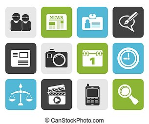 computer and business icons - Black web site, computer and...
