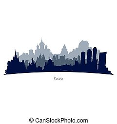Russia vector silhouette - Russia cities black and grey...