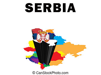 Serbia - Outline map of Eastern Europe with Serbia raised...