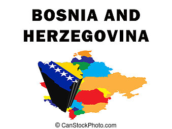 Bosnia And Herzegovina - Outline map of Eastern Europe with...