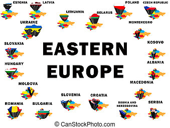 Eastern Europe - Outline map of Eastern Europe with each...