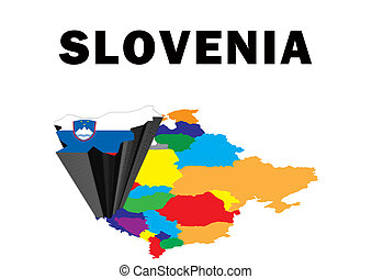 Slovenia - Outline map of Eastern Europe with Slovenia...