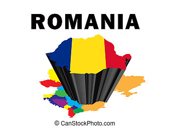 Romania - Outline map of Eastern Europe with Romania raised...