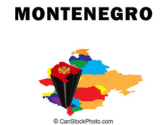 Montenegro - Outline map of Eastern Europe with Montenegro...