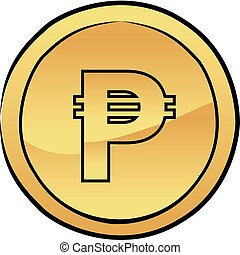 Gold peso coin vector icon - Vector illustration of a gold...
