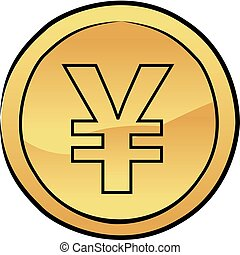 Japanese yen coin - Vector illustration of a sketched...