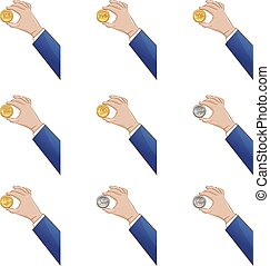 Hand holding coins vector icons