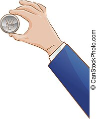 Hand holding a Japanese yen coin - Vector illustration of a...