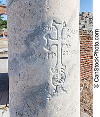 Christian Iconography at Selcuk in Turkey - Christian cross...