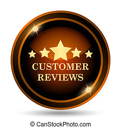 Customer reviews icon. Internet button on white background....