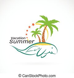 vector image of an coconut palms on the dugongs. Summer vacation. Logo design