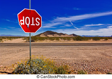 No Respect for the Law - A Stop Sign in a remote area of...