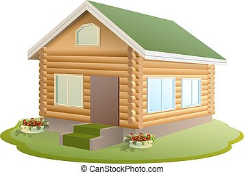 Modern wooden house Log house New home with green roof...