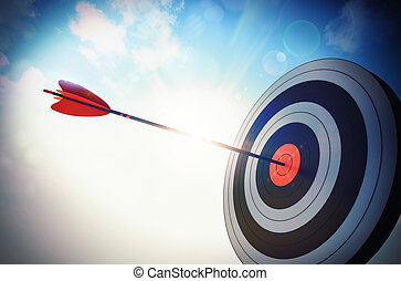 Hit the bull - Target hit in the middle by arrow