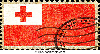 Tonga flag with some soft highlights and folds