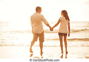 coppia, spiaggia, Romantico, tramonto