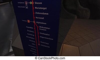 Information board at metro station in Stockholm, station...