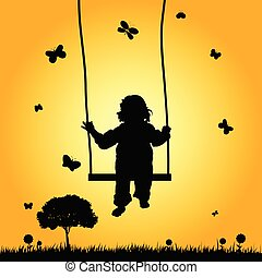child on swing silhouette illustration