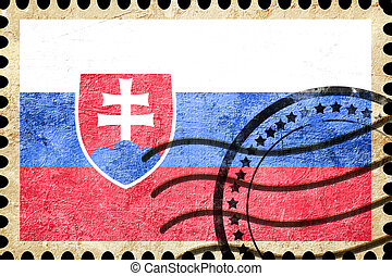 Slovakia flag with some soft highlights and folds