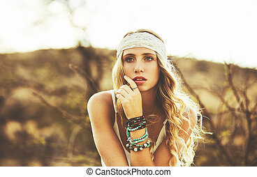 Fashion Portrait of Beautiful Young Woman - Fashion...