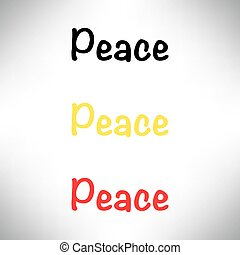 Peace text campaign in black, red, yellow color illustration