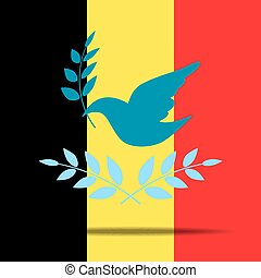 The Belgian flag and Peace illustration