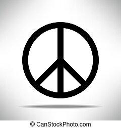 Black Peace symbol on white grey background