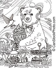 lovely bear coloring page - lovely bear enjoys afternoon tea...