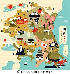 lovely Japan travel map with kappa - Welcome to east Japan...