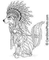 lovely wolf coloring page - lovely Indian style wolf - adult...