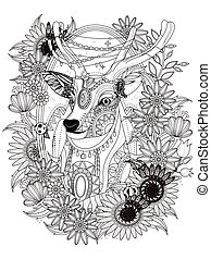 gorgeous deer coloring page - gorgeous deer with floral...