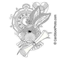 lovely rabbit coloring page - lovely rabbit with clock and...