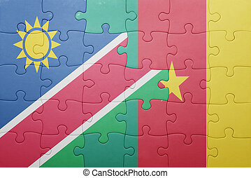puzzle with the national flag of namibia and cameroon...