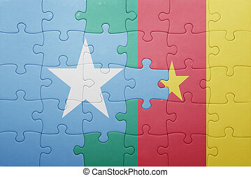 puzzle with the national flag of somalia and cameroon ....