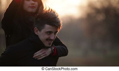Couple in love having fun and embracing