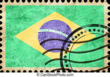 Brasil flag with some soft highlights and folds